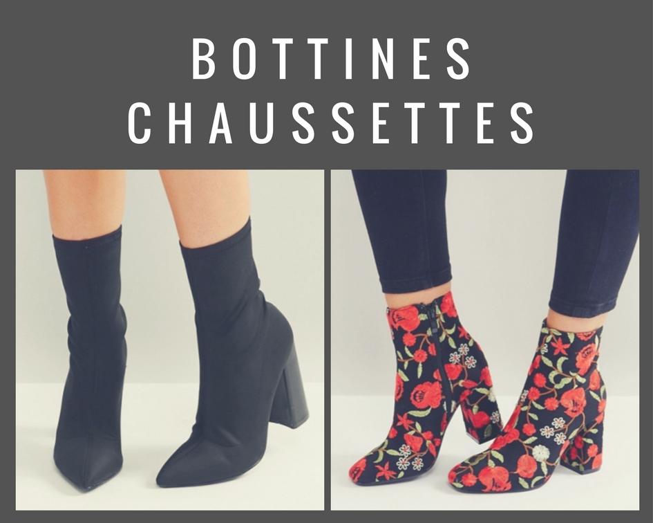 Bottines Chaussettes noires et brodées