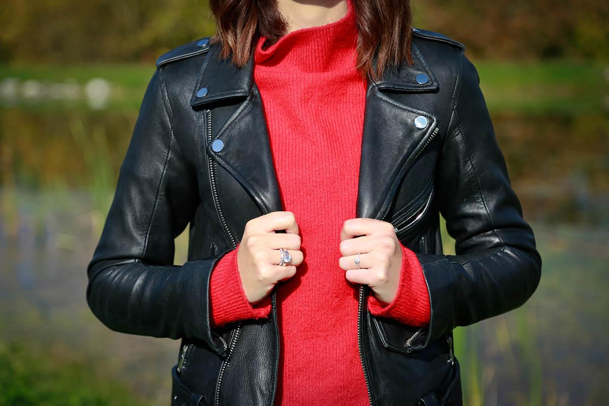 Pull rouge et imprimé Prince de Galles