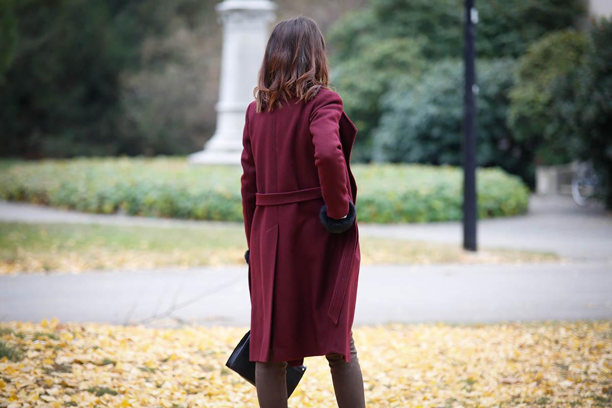 Manteau long bordeaux