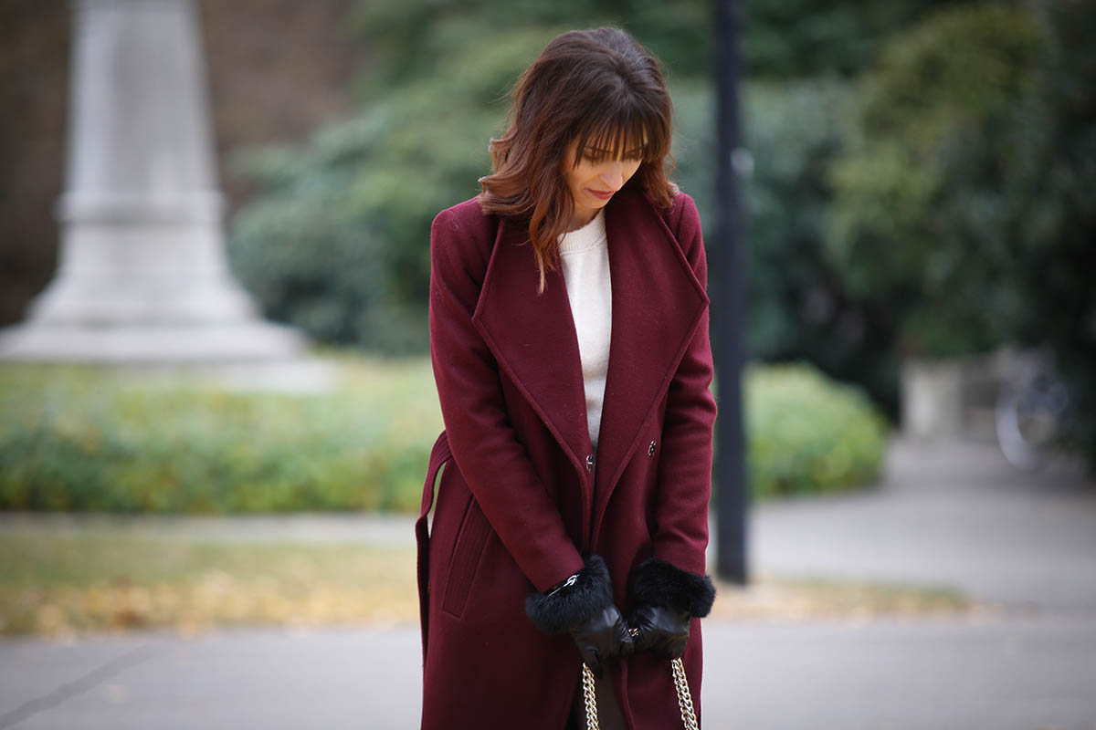 Manteau long bordeaux