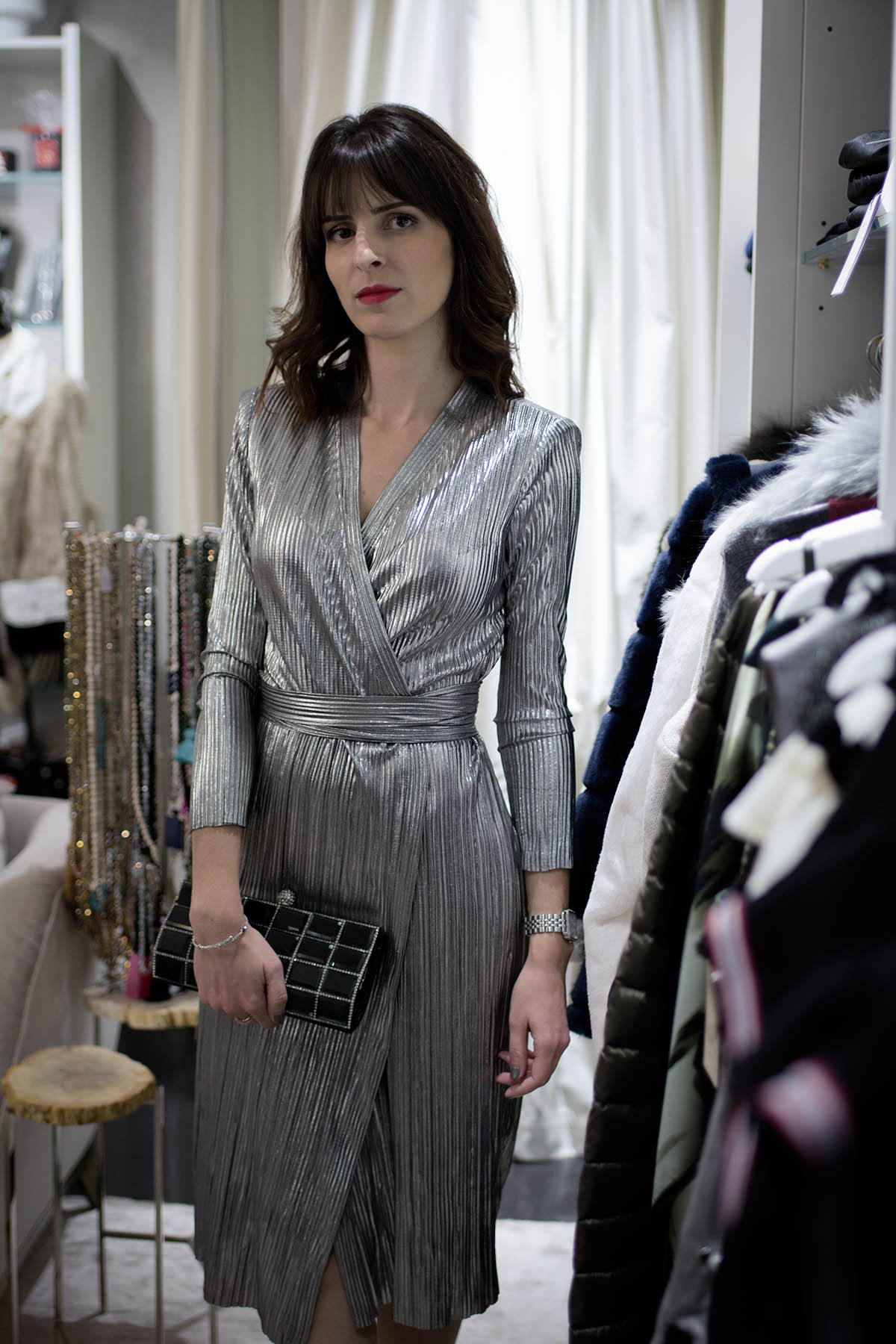 Robe Zara cache coeur métallisée